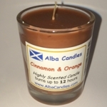 Cinnamon and orange Alba candle in shot glass