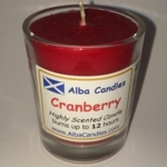 Cranberry Alba candle in shot glass