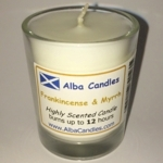 Frankincense and myrrh Alba candle in shot glass