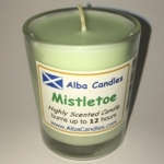 Misteletoe Alba candle in shot glass